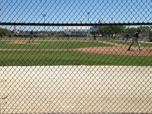 Intrasquad game on one of the Minor League fields